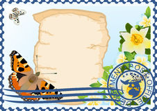 Postage stamp. Paper, butterflies and flowers Stock Photos