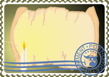Postage stamp. Paper and a candle Royalty Free Stock Photos