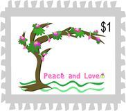 Postage Stamp of a Peace and Love Tree Royalty Free Stock Image