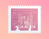 Postage stamp with a picture of the city, tourist attraction in Trendy outline style,Vector illustration for your design Stock Photos