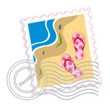 Postage stamp with pink slippers. At a sand Royalty Free Stock Photography