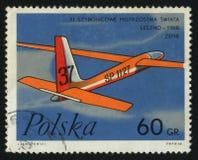Postage stamp. POLAND - CIRCA 1968: Plane flies. Zephyr Glider, circa 1968 stock photography