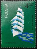 Postage Stamp. 1974. Poland. Pictures of ships stock image