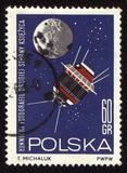 Postage stamp from Poland with spaceship Luna-3 Stock Photos