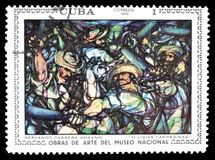 Postage stamp printed by Cuba. Cancelled postage stamp printed by Cuba, that shows painting of Servando Cabrera Moreno Peasant militia, circa 1970 stock photos