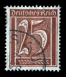 Stamp printed in Germany shows numeric value. A postage stamp printed in Germany shows numeric value, circa 1921 royalty free stock photo