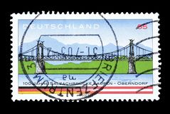 Postage stamp printed by Germany. That shows Salzach River Bridge at Laufen Oberndorf, circa 2003 royalty free stock images
