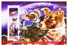 Free Postage Stamp Printed In Cote D`Ivoire Shows Laika, Sputnik 2, 60th Anniversary Of Sputnik 2 Launching Serie, Circa 2017 Stock Images - 193315514