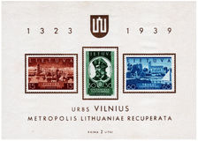 Postage stamp printed in Lithuania. Circa 1939 Royalty Free Stock Photos