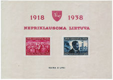 Postage stamp printed in Lithuania and shows president Antanas S Royalty Free Stock Images