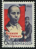 Postage stamp printed by Russia. RUSSIA - CIRCA 1963: stamp printed by Russia, shows portrait Julian Grimau, circa 1963 Royalty Free Stock Photography