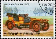 Postage stamp printed in S.Tome e Principe shows image of the retro car Mercedes Simplex 1902 year of release Royalty Free Stock Photos