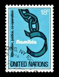 Postage stamp printed by United Nations. That Promotes Liberation, justice and Co-operation for Namibia, circa 1978 stock photos