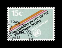 Postage stamp printed by United Nations. That Promotes Rights for Palestinian people, circa 1981 stock photo