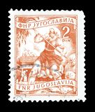 Postage stamp printed by Yugoslavia. Cancelled postage stamp printed by Yugoslavia, that shows Agriculture, circa 1950 royalty free stock photography