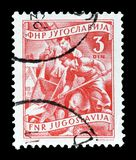 Postage stamp printed by Yugoslavia. Cancelled postage stamp printed by Yugoslavia, that shows Construction industry, circa 1950 royalty free stock photos