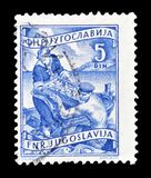 Postage stamp printed by Yugoslavia. Cancelled postage stamp printed by Yugoslavia, that shows Fishing industry, circa 1950 royalty free stock photography