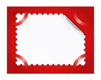 Postage stamp is on a red background. Stock Photo