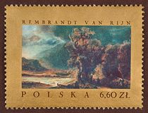 Postage stamp, Rembrandt Van Rijn, landscape Stock Photography