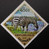Postage Stamp. 1975. Republic of Guinea. Wild animals royalty free stock images
