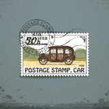 Postage stamp with retro car Stock Photos