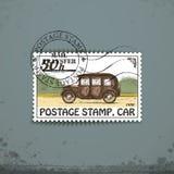 Postage stamp with retro car Stock Photos