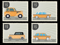 Postage stamp. With retro taxi cars. Vector illustration Royalty Free Stock Photography