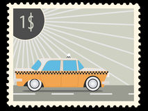 Postage stamp. With retro taxi cars. Vector illustration Stock Image