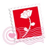 Postage stamp with rose royalty free illustration