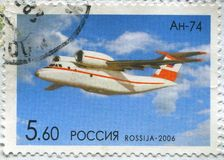 Postage stamp. RUSSIA - CIRCA 2006: stamp printed by Russia, shows airplane, circa 2006 stock image
