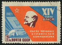 Postage stamp. RUSSIA - CIRCA 1962: stamp printed by Russia, shows electricity and Lenin, circa 1962 stock photos