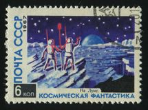 Postage stamp. RUSSIA - CIRCA 1967: stamp printed by Russia, shows Explorers on the moon, circa 1967 stock photo