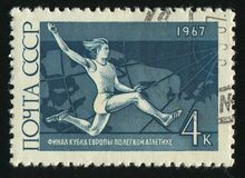 Postage stamp. RUSSIA - CIRCA 1967: stamp printed by Russia, shows long jump, circa 1967 Stock Image