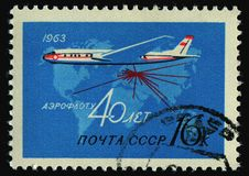 Postage stamp. RUSSIA - CIRCA 1963: stamp printed by Russia, shows plane and map, circa 1963 stock photo