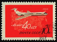 Postage stamp. RUSSIA - CIRCA 1963: stamp printed by Russia, shows plane and map, circa 1963 royalty free stock image