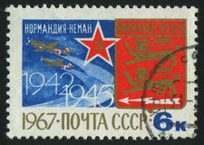 Postage stamp. RUSSIA - CIRCA 1967: stamp printed by Russia, shows planes and emblem, circa 1967 royalty free stock image