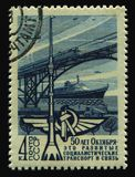 Postage stamp. RUSSIA - CIRCA 1967: stamp printed by Russia, shows ship and train, circa 1967 stock photo