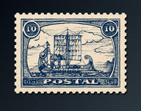 Postage stamp with ship. Royalty Free Stock Image