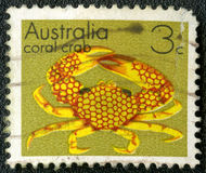 Postage stamp shows coral crab Stock Images