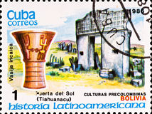 Postage stamp shows example Tiahuanacu culture Royalty Free Stock Photo