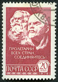 Postage stamp shows Marx and Lenin Stock Photography