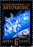 Postage stamp shows satellite Stock Photos
