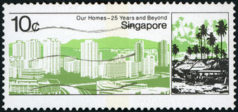 Postage stamp. Singapore - our Homes 25 years and beyound stock images