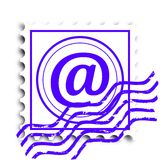 Postage stamp with a stamp. Email - illustration Royalty Free Stock Images