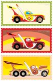 Postage stamp, sticker drag racing. Racing series. Standard. Red. Super heavy. Spectacular race. The roar of the engine. Screeching tires royalty free illustration