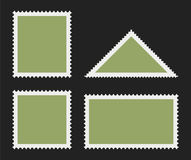 Postage stamp templates. Vector illustration isolated on black. Rectangular, square, triangular postage stamps with empty field Stock Images