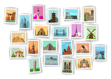 Postage stamp. travel icons set Royalty Free Stock Images