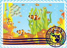 Postage stamp with the underwater world Royalty Free Stock Photos