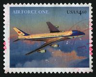Postage stamp. UNITED STATES - CIRCA 2007: Presidential Aircraft. Air force one, circa 2007 stock images