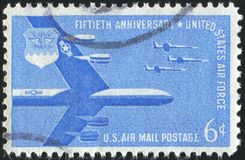 Postage stamp. UNITED STATES - CIRCA 1957: stamp printed by United states, B-52 Stratofortress and F-104 Starfighters, circa 1957 royalty free stock images